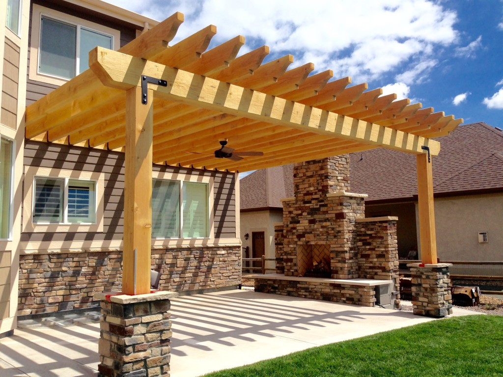 Large Beam Pergola Built Over A Paver Patio And Hot Tub